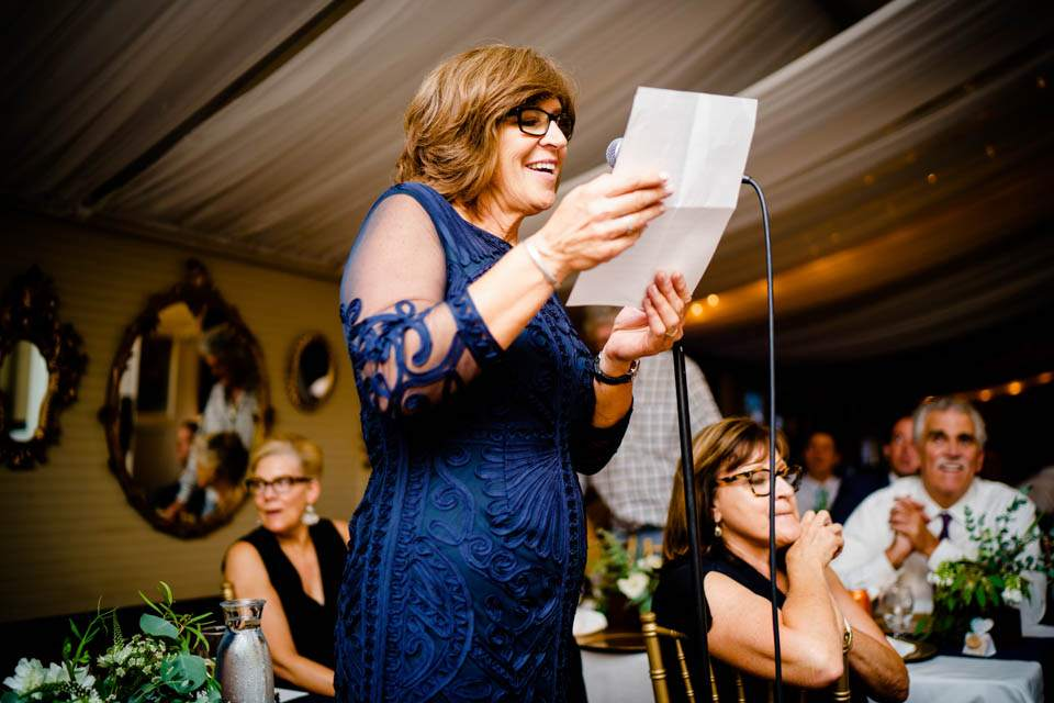 mother of bride giving wedding toast