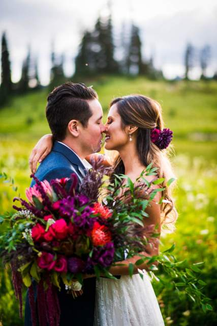 mountain elopement during wildflower season