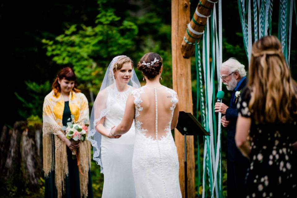 outside ceremony at fall mountain wedding 2