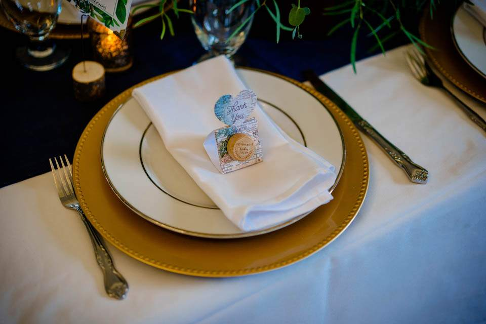 simple travel inspired table settings for ferry boat wedding