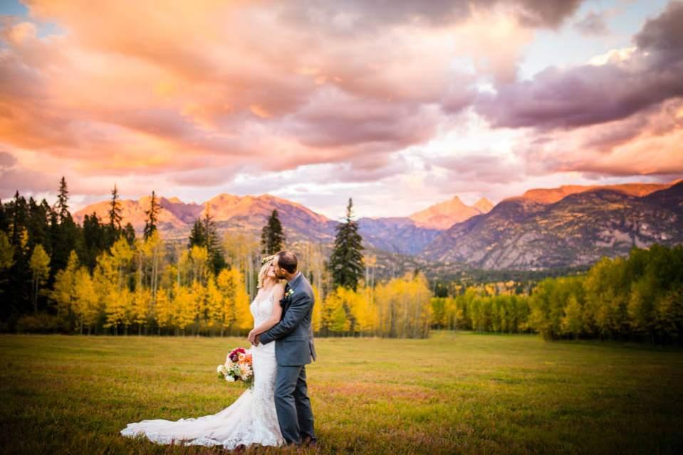 stunning sunset wedding photo