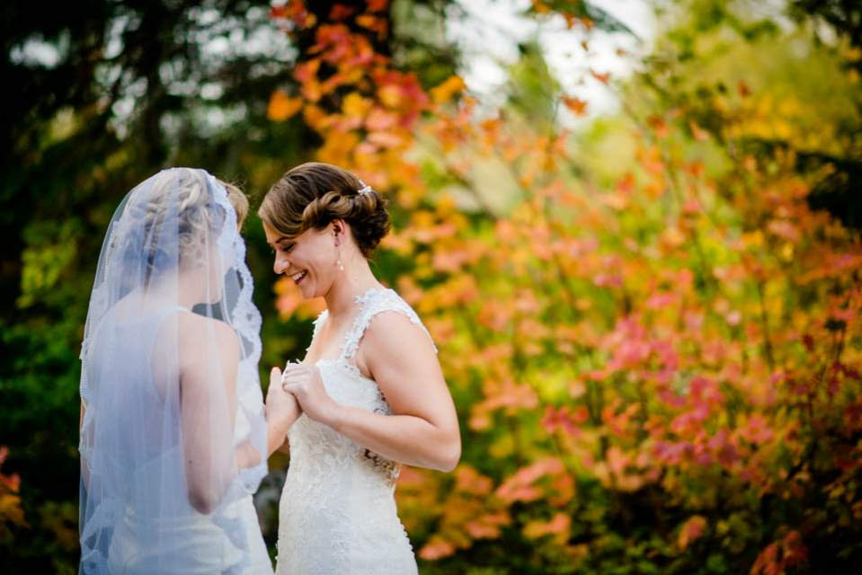 two brides first look fall wedding 2