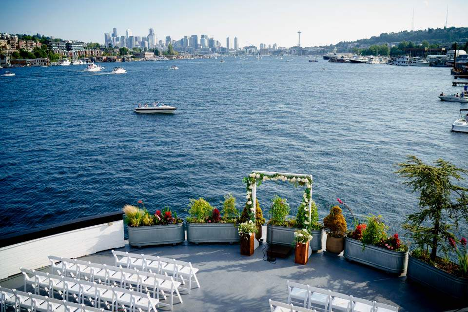 view of seattle and outdoor ceremony space from mv skansonia