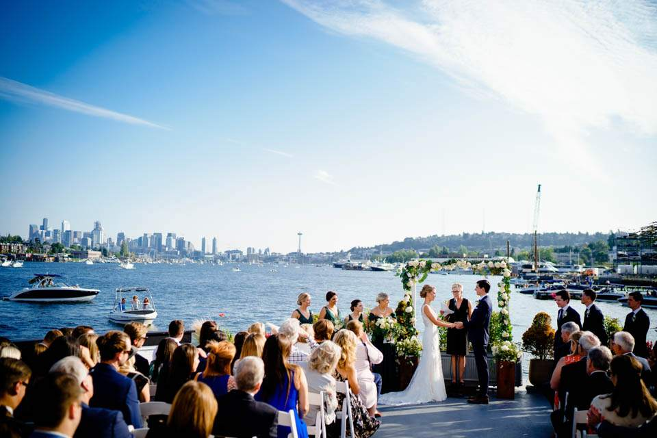 wedding ceremony space with view of seattle skyline